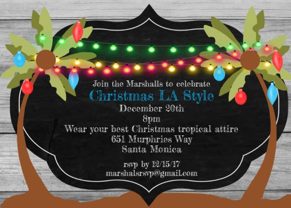 Christmas holiday tropical party invitations 2017 tropical chalkboard and palmtree christmas holiday party invitations santa hat on the beach monicamarmolfo Images