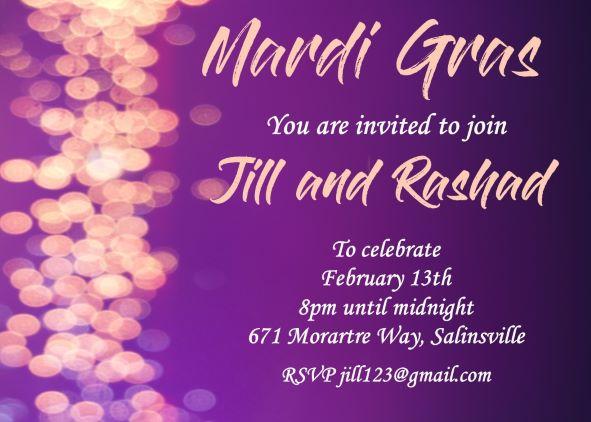 Mardi Gras Party Invitations 2018