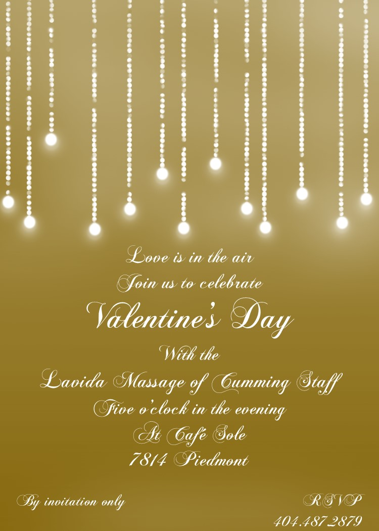 golden lights valentine Party Invitations