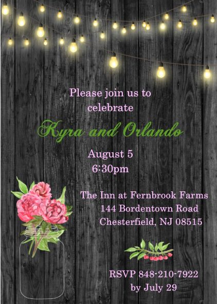 String lights and peonies engagement Party Invitations