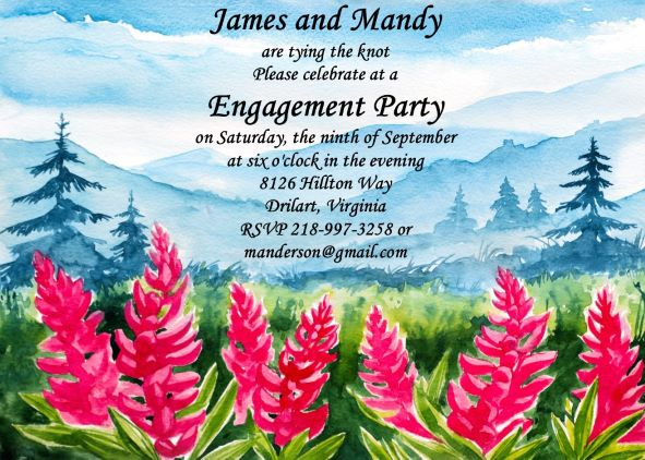 Mountain Engagement Party Invitations