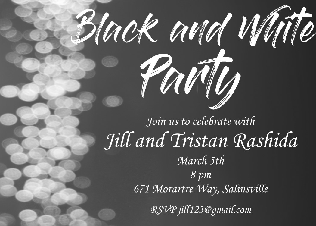 black and white party invitations new selections summer 2019