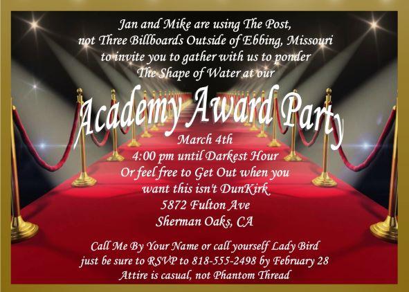 Academy Awards Party Invitations and Oscar invitations NEW ...