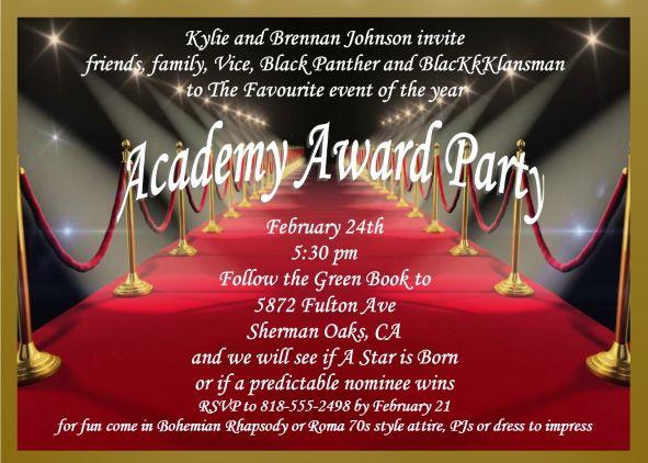 Academy Awards Party Invitations Oscar