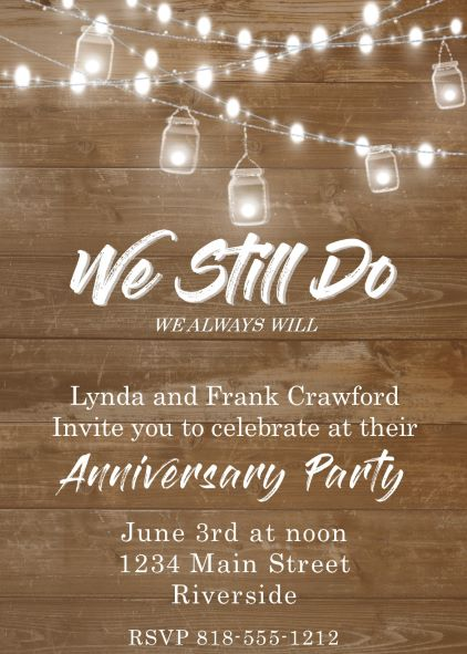 Anniversary party invitations new selections spring 2018 mason jar lights anniversary party invitations stopboris Gallery