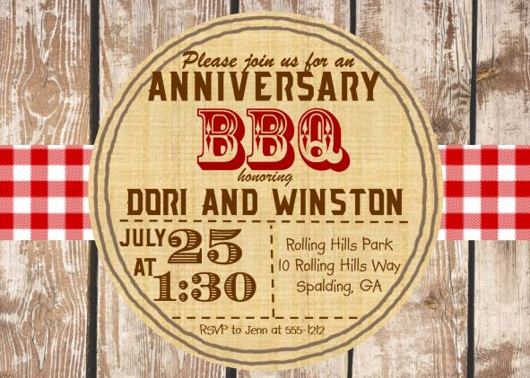BBQ Anniversary Party Invitations