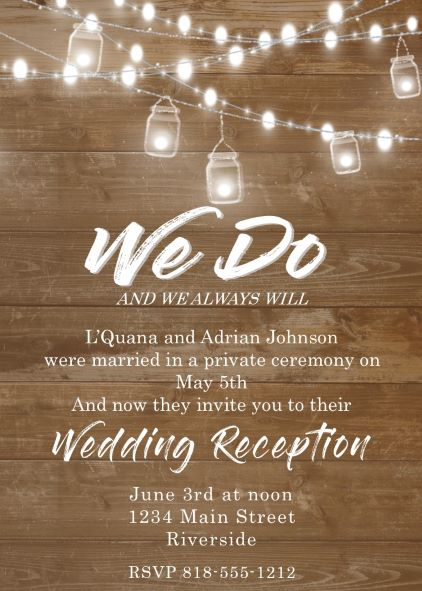 Elopement party invitations reception only invitations we do mason jar reception only party invitations stopboris Gallery
