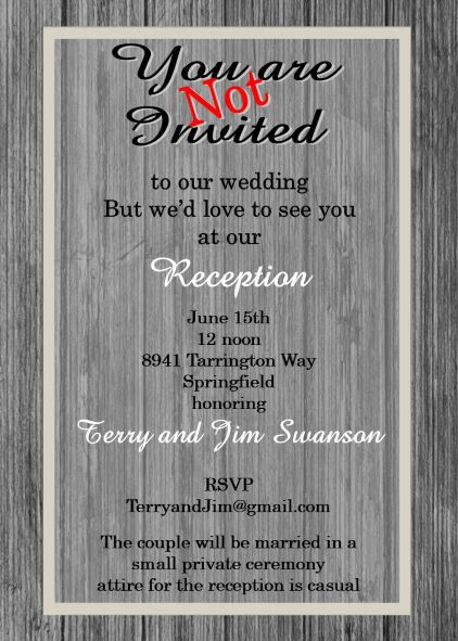Elopement party invitations reception only invitations wood reception only party invitations stopboris