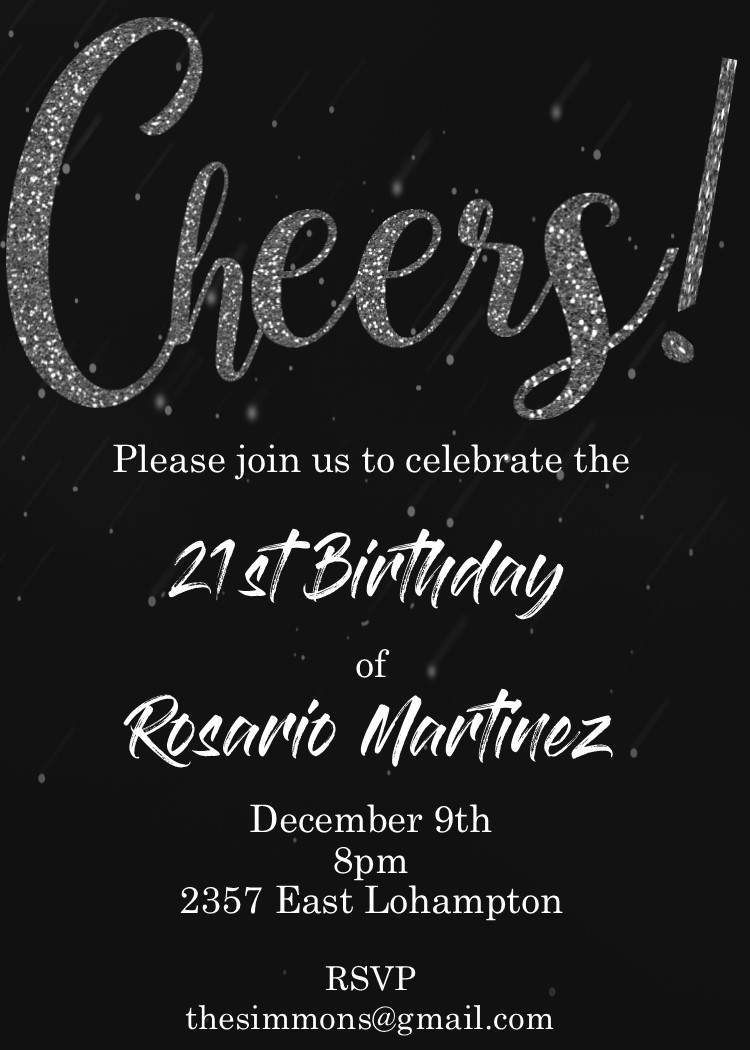 Cheers To 21 Years Birthday Party Invitations