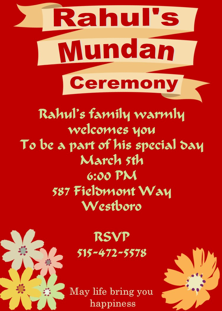 Mundan Or Chadakarana Ceremony Invitations New Selections Winter 2019