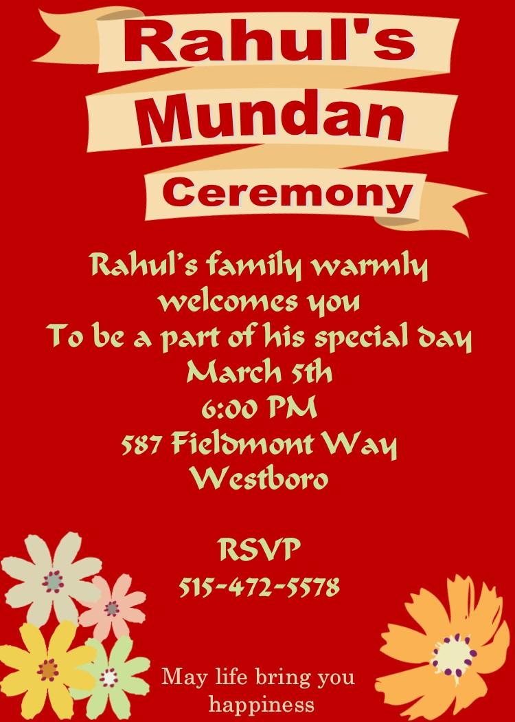 Mundan or Chadakarana Ceremony invitations NEW selections ...