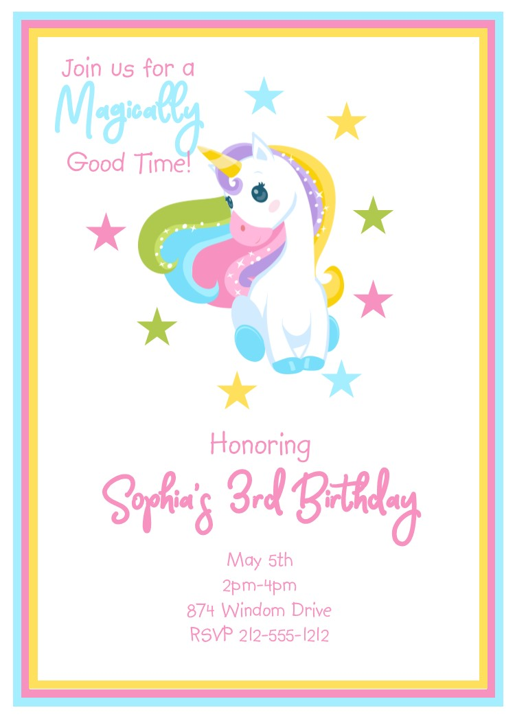 Sar2373g charming unicorn birthday party invitations filmwisefo Image collections