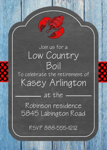 Retirement party invitations custom designed new for summer 2018 crawfish boil retirement party invitations stopboris Image collections