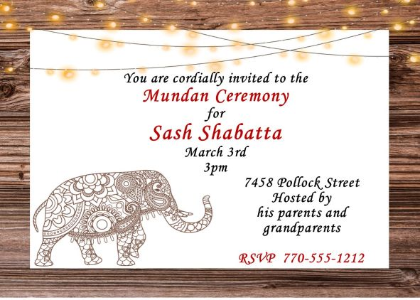 Mundan or Chadakarana Ceremony invitations NEW selections Summer 2018