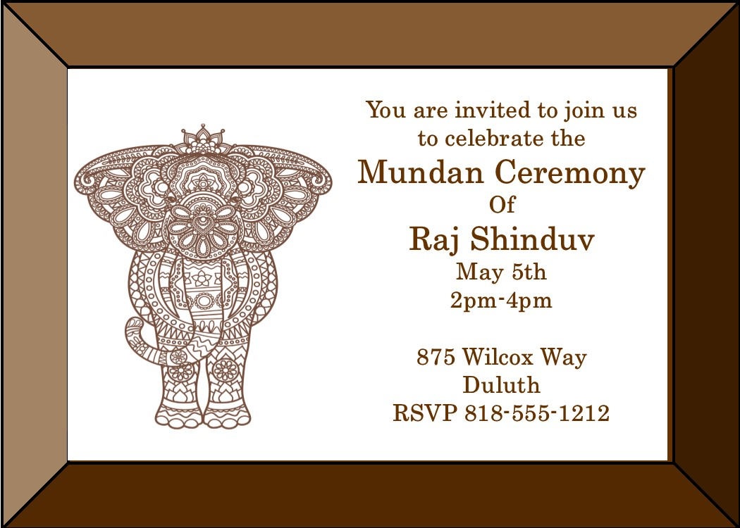 Mundan or Chadakarana elephant frame invitations