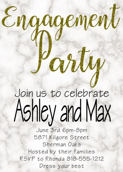 Marble engagement Party Invitations