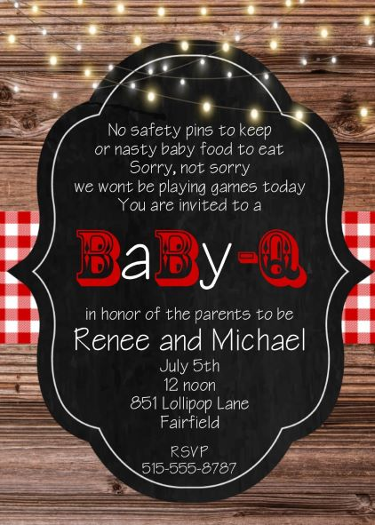 babyq chalkboard on wood shower invitations
