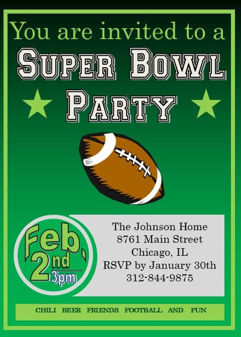 super bowl invitations football