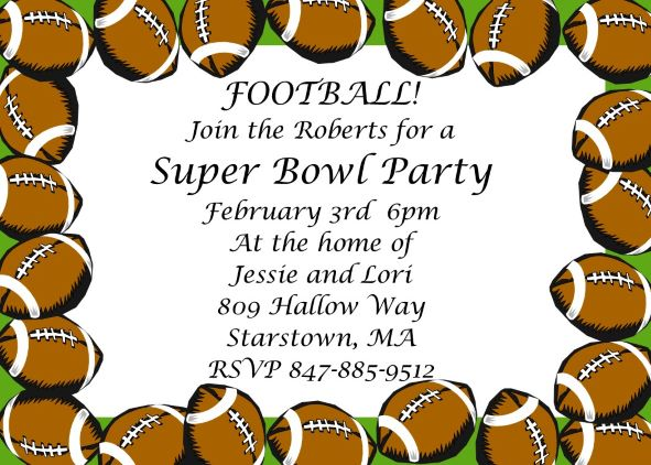 Super Bowl Party Invitations 2018- Football