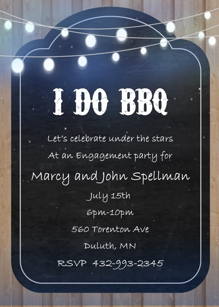 engagement barbecue i do bbq party invitations new selections