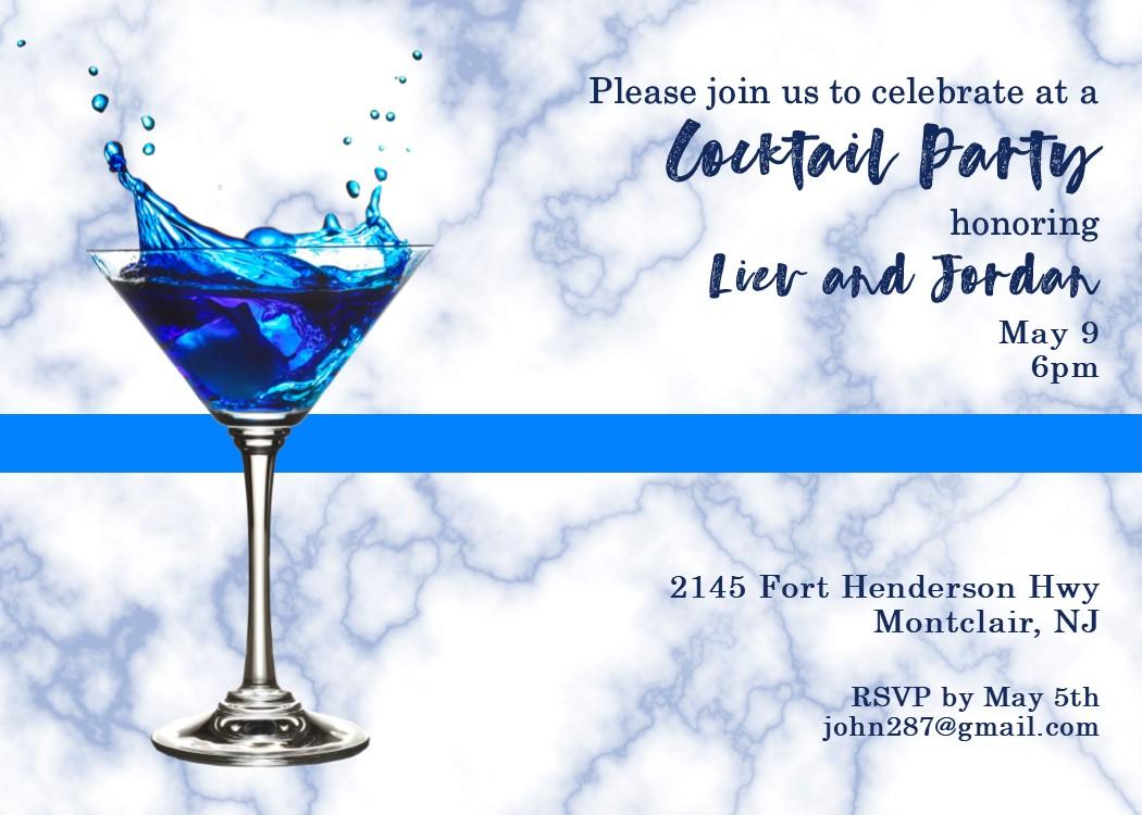 Blue Splash Martini 21st Birthday Party Invitation