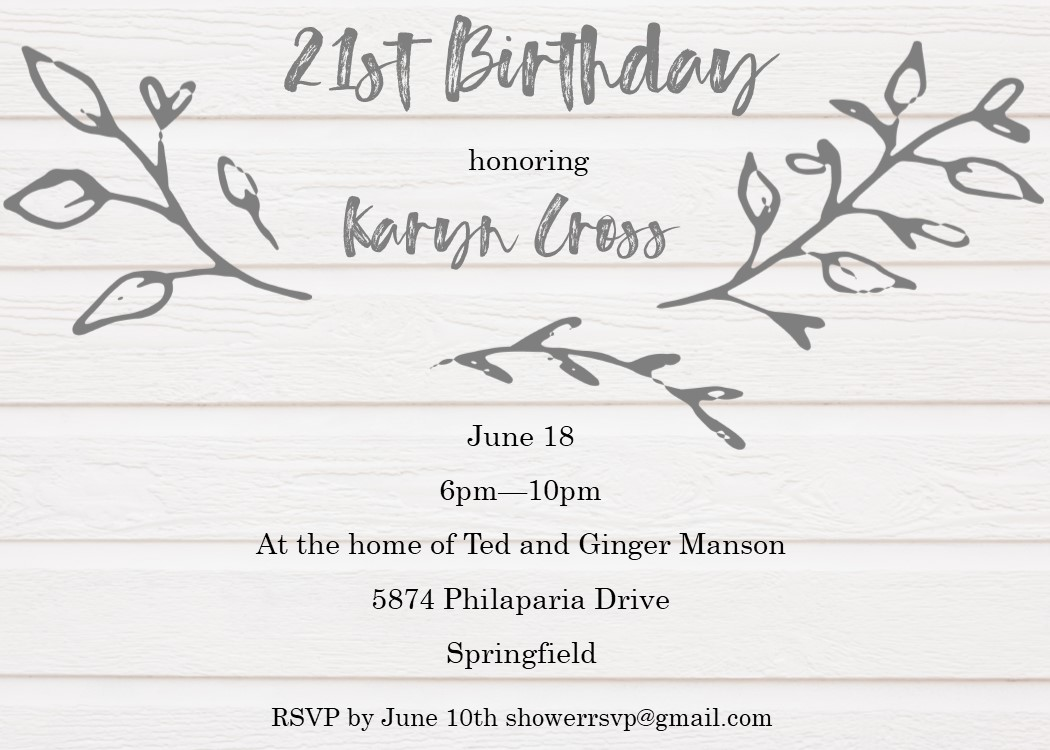 Shiplap 21st Birthday Party Invitations