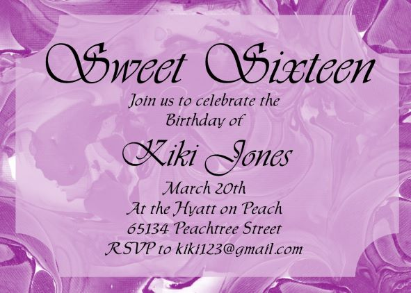 Pantone Brush Sweet 16 Invitations