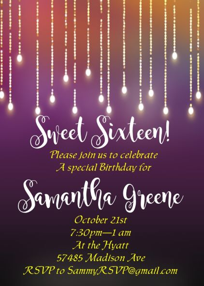Sweet Sixteen 16 Party Invitation NEW selections Summer 2018