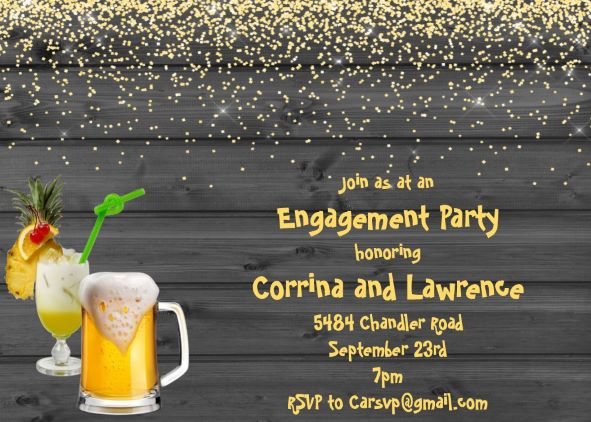 Hard Cider engagement cocktail party invitation