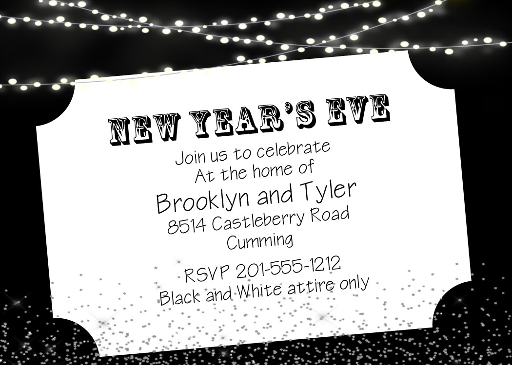 black and white new years eve party invitations