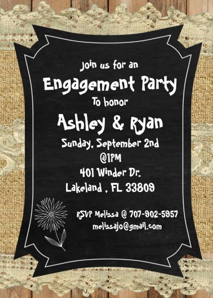 Burlap and Lace engagement Party Invitations