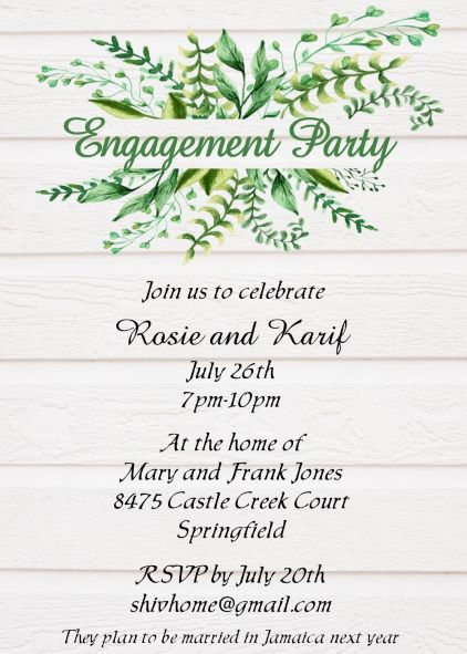Greens on Shiplap engagement Party Invitations