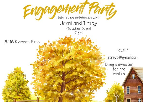 fall engagement cocktail party invitation