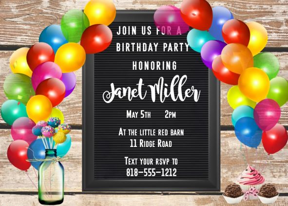 Letter Board Cake Pops Balloon Arch Birthday Party Invitation