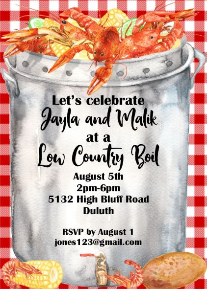 image relating to Crawfish Boil Invitations Free Printable named Lower State Boil Social gathering invites Contemporary choices Summer season 2019