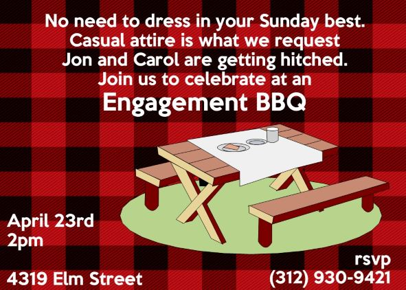 Engagement Barbecue - I do BBQ Party Invitations NEW selections Fall ...