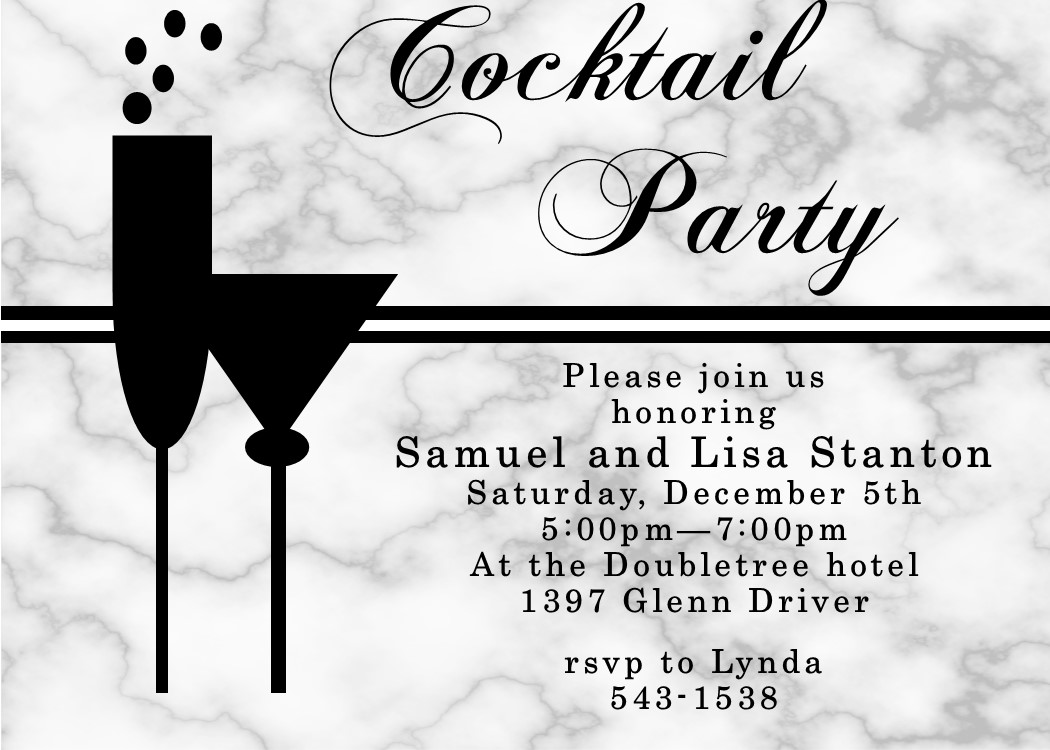 Unique Cocktail Party Invitation Custom Created For