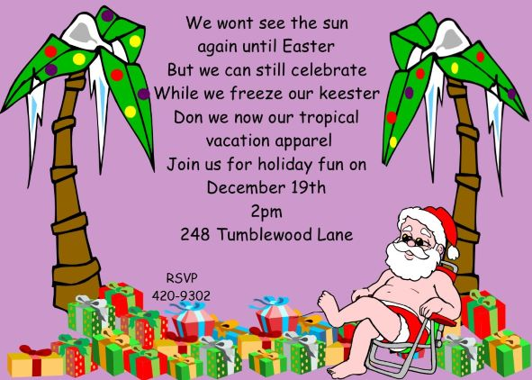 Tropical holiday christmas party invitations unique designs for 2016