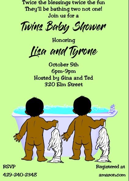 Twin Baby Shower Party Invitations