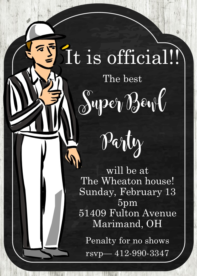 super bowl party invitations 2018