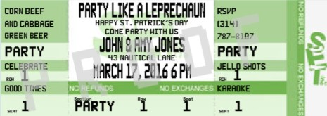 st patricks day ticket invitations