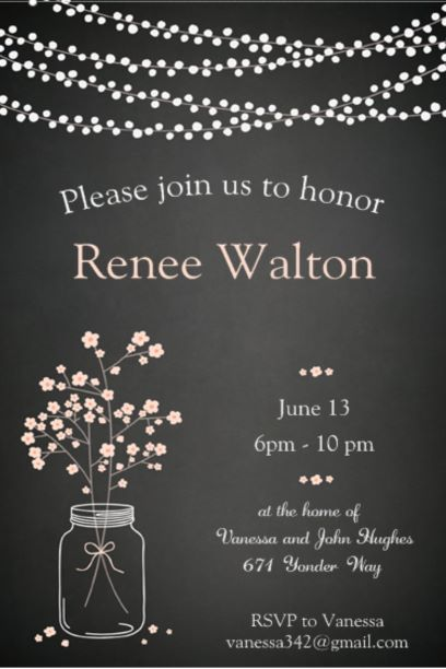 Going Away Mason Jar Party Invitations
