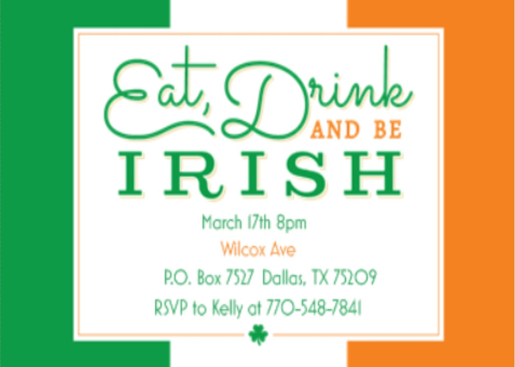 St. Patrick's Day Party Invitations- St Patty's day - 2017