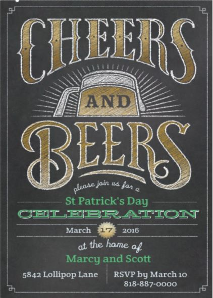 cheers and beers patricks day party invitations