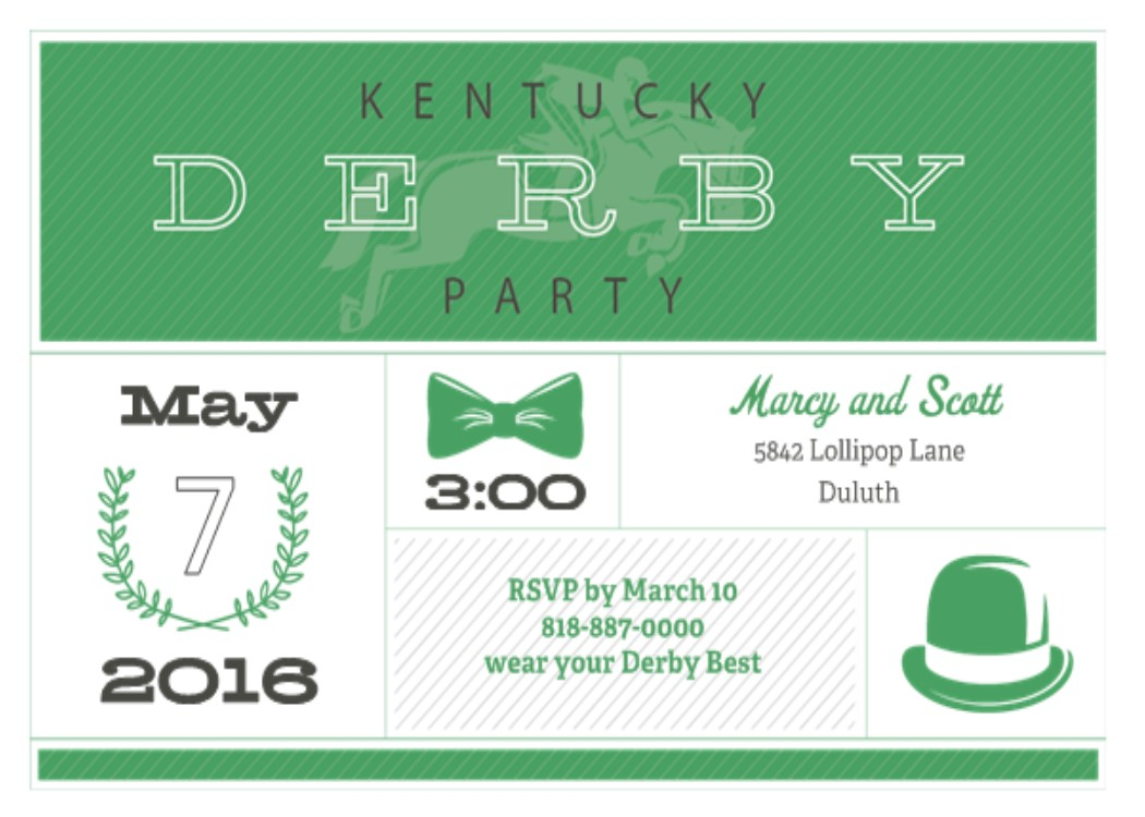 Kentucky Derby Party Invitations May 5 2018
