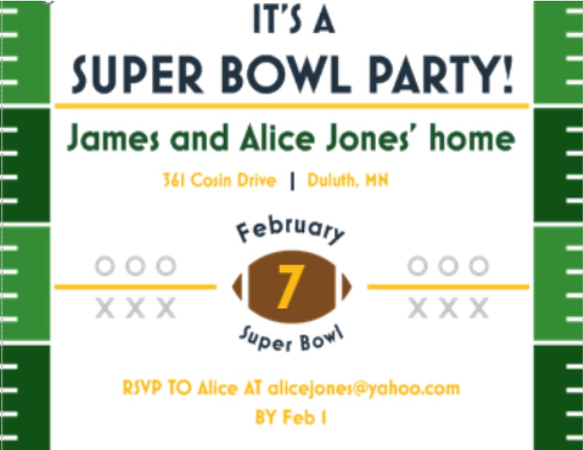 super bowl party invitations 2018- football, Party invitations