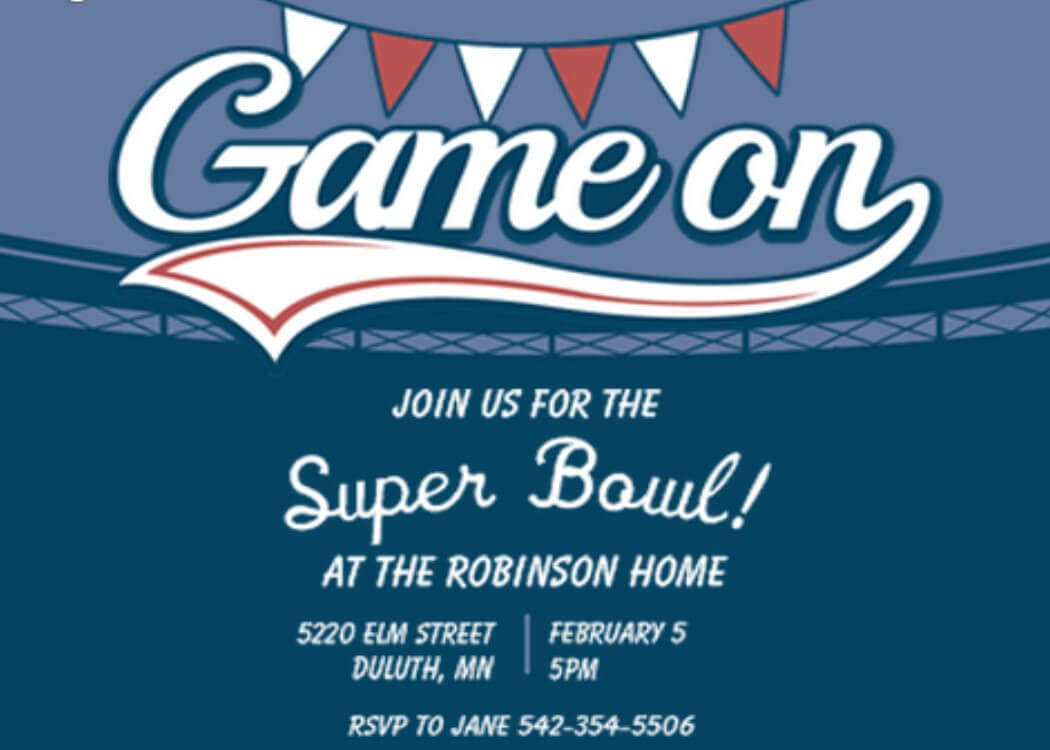Super Bowl Party Invitations 2018- Football