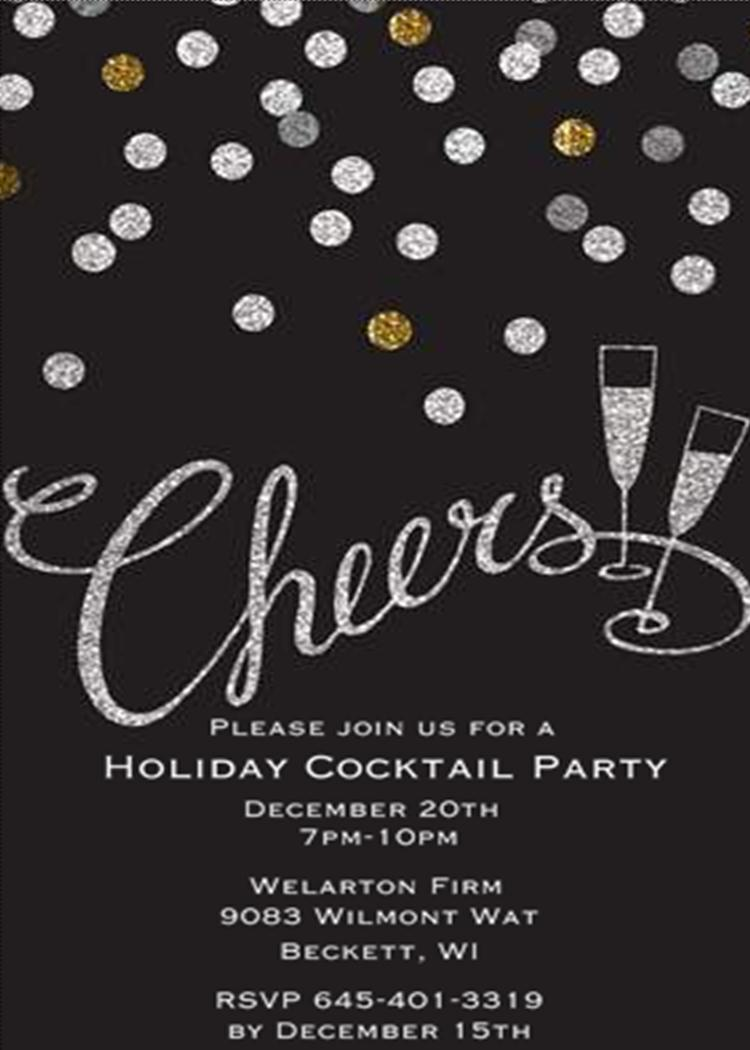 Chalkboard Christmas Cocktail Party Invitations. Silver And Gold  Corporate Party Invitation Template