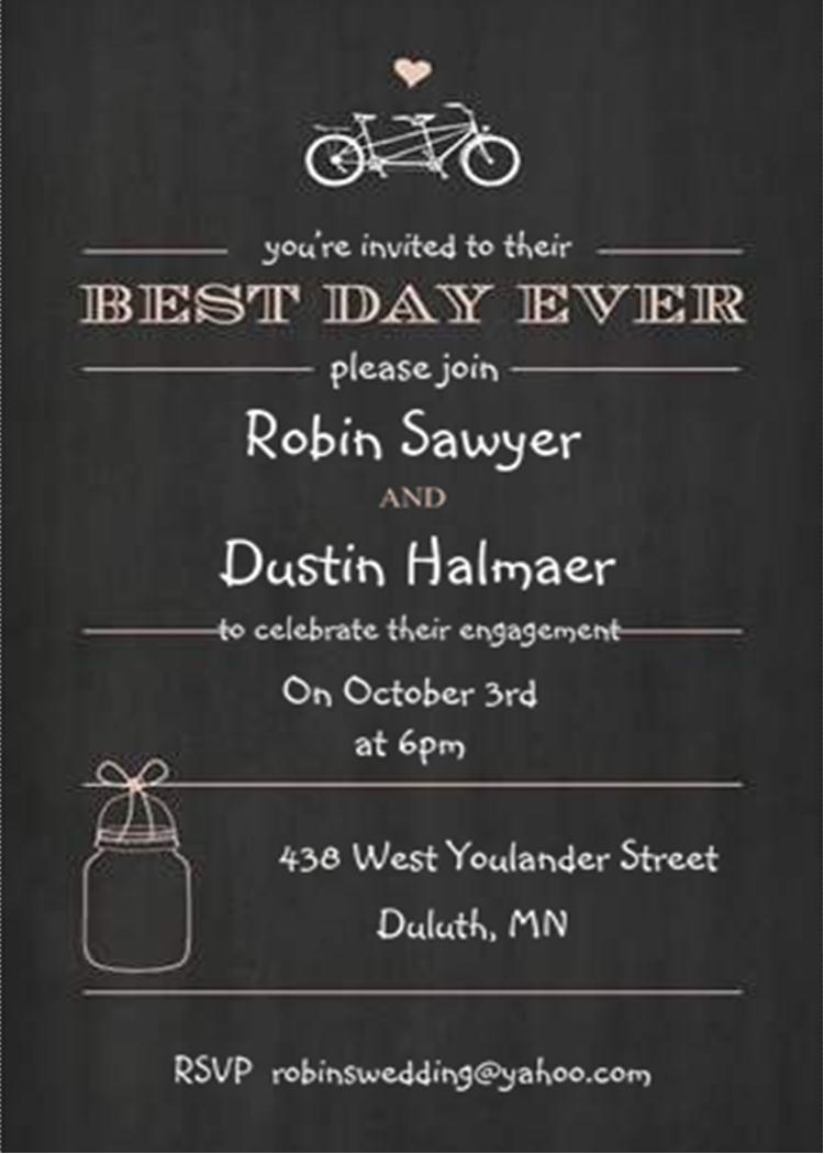 Bicycle Built for two and mason jar Chalkboard - Engagement Party Invitations
